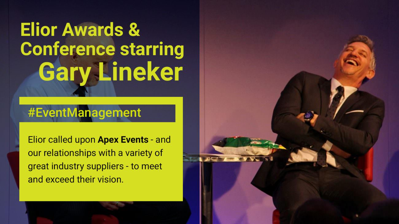Elior Awards starring Gary Lineker. Event Management by Apex.